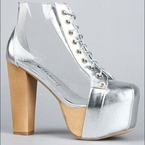 New Jeffrey Campbell 'Cleata' Silver Clear Booties